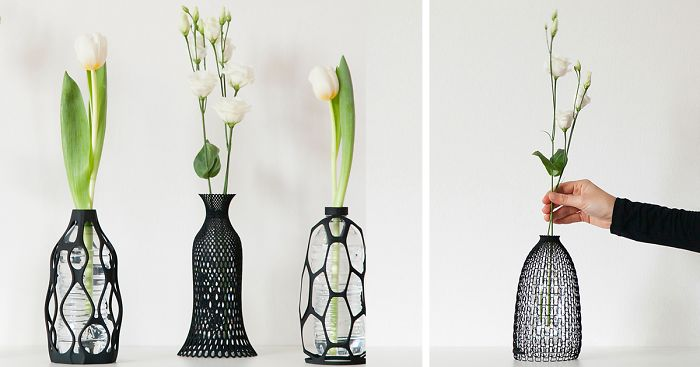 3D Printed Flower Vase with Plastic Bottle Insertions