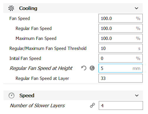 cura software fan speed